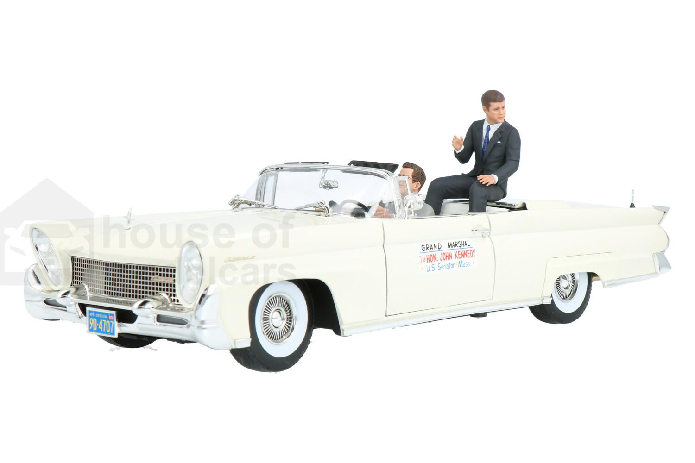 Lincoln Mak III Convertible John f Kennedy in Oregon Inclusief 2 figuren. - Modelauto schaal 1:18